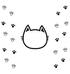 Black cat head face contour silhouette icon line vector
