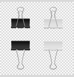 Realistic binder clip icon set isolated on vector