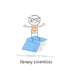 Library scientists flying on book vector