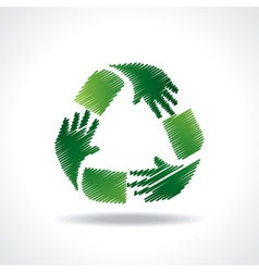 Sketched recycle icon of hand vector