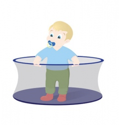 kid in playpen vector image