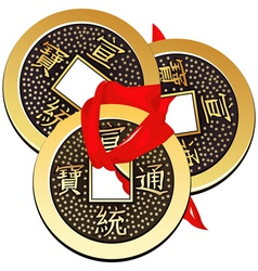 Three ancient chinese coins feng shui tied vector