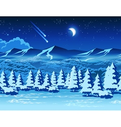 Winter forest at night vector