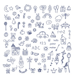 Set of hand drawn cute doodles doodle children vector