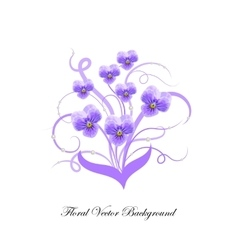 Decorative bouquet of violet flowers vector