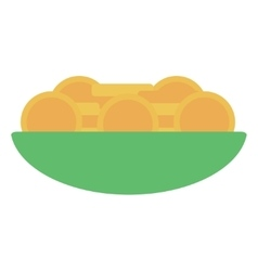 Golden coins inside of the bowl vector