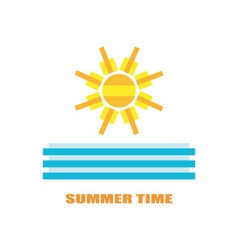 Summer image with sun and sea waves vector