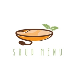 Soup menu design template with leaf and bowl vector