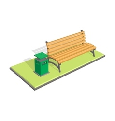 Bench in the park with litter bin - trash metal vector image