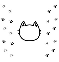 black cat head face contour silhouette icon line vector image