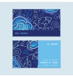 Blue night flowers horizontal stripe frame pattern vector