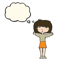Cartoon woman raising arms in air with thought vector