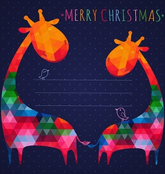 colorful christmas greeting card with giraffes vector image