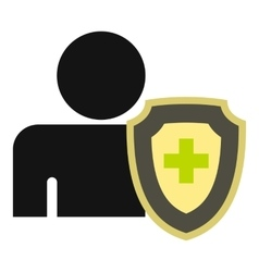 Cross protection icon flat style vector