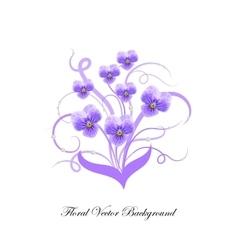 Decorative bouquet of violet flowers vector