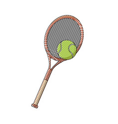 Draw tennis racket and ball sport equipment vector