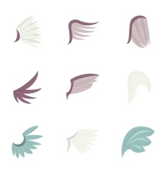 Feather wing bird icons set cartoon style vector