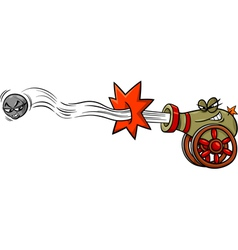 Firing cannon and cannonball cartoon vector