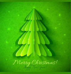 Green origami Christmas tree greeting card vector image