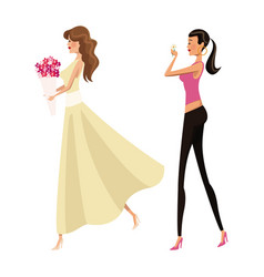 Happy two woman fashion slim vector
