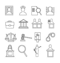 Judicial system icon set vector