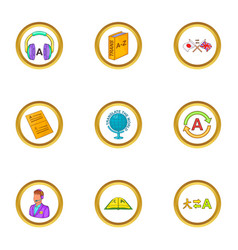 Language icons set cartoon style vector