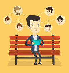 Man surfing in the social network vector