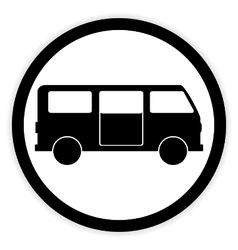 Minibus button on white vector