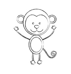 monochrome blurred contour with male monkey vector image vector image