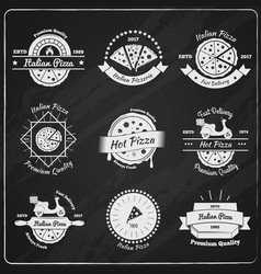 pizza chalkboard emblems collection vector image