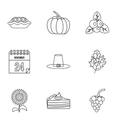 Public holiday of usa icons set outline style vector