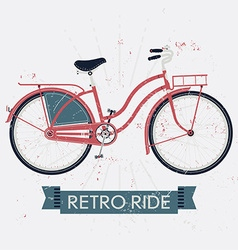 Retro ride poster with a bicycle vector