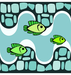 Seamless pattern with smalts and fishes vector