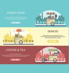 set of tricycle street food bike horizontal vector image