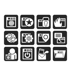Silhouette internet and security icons vector