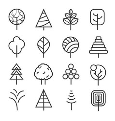 simple contour lines trees nature plants vector image