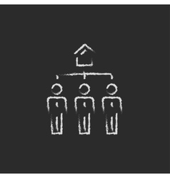 Three real estate agents icon drawn in chalk vector image vector image
