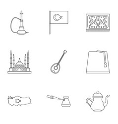 Turkey things icons set outline style vector