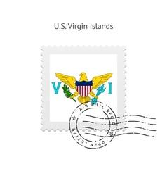 Us virgin islands flag postage stamp vector