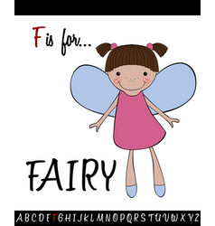 Vocabulary worksheet card with cartoon fairy vector