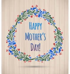 Watercolor flower wreath happy mothers day card vector
