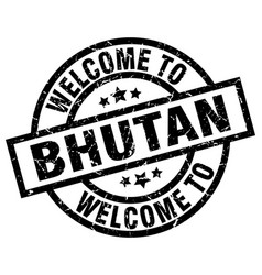 Welcome to bhutan black stamp vector