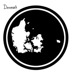 White map of denmark on black circle vector