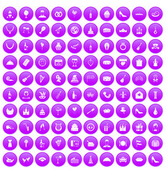 100 banquet icons set purple vector