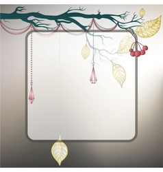 Steel gray background with tree branch and last vector
