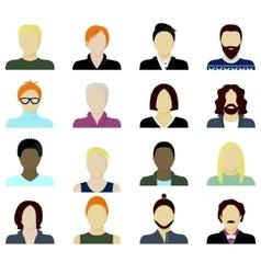 men cartoon portraits set vector image