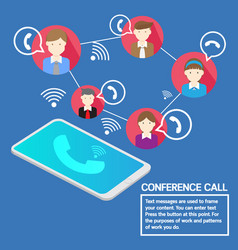 Business team concept smartphone conference call vector