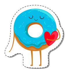 Donut cartoon character in love vector