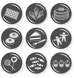 Sweet birthday cake icons vector