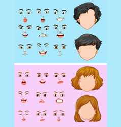 Man and woman with many facial expressions vector
